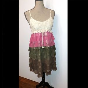 embroidered summer dress with tulle bottom. Size M